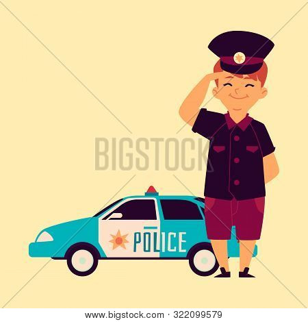 A Little Boy In A Police Cap Is Standing At The Patrol Car.