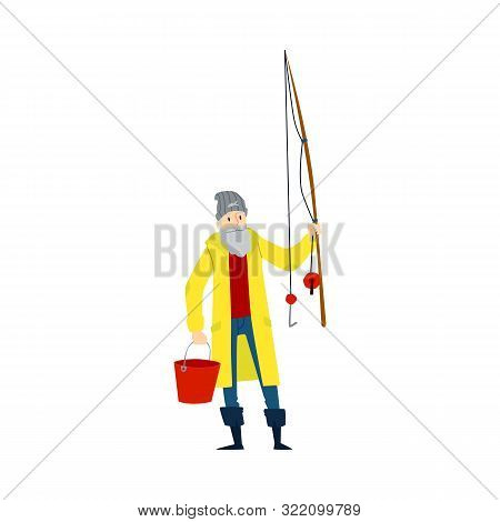 Fisherman Or Angler Holding Fishing Rod The Flat Vector Illustration Isolated.