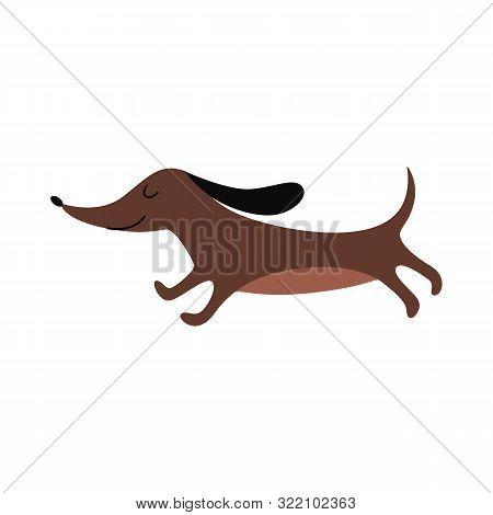 Brown Dachshund Running With Eyes Closed - Cute Cartoon Wiener Dog