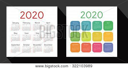 Calendar 2020 Year Set. Vector Design Template. English Square Pocket Calender. Week Starts On Sunda