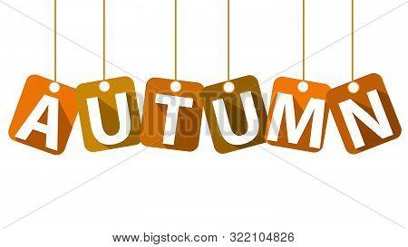 Word Autumn On The Clothesline, Vector Art Illustration.