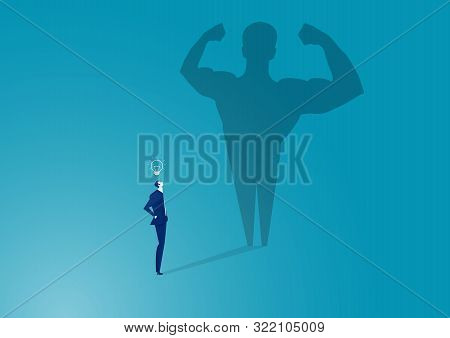 Business Man With Big Shadow .concept Of Success, Quality Of Leadership.vector Illustration