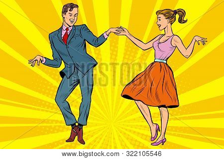 Retro Dancers Couple Man And Woman. Pop Art Vector Illustration Drawing