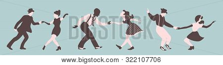 Three Swing Dance Couples Silhouettes On A Green Background. Men And Women Performing Jazz Or Lindy