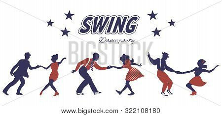 Three Swing Dance Couples Silhouettes In Red And Blue Colors With Inscription And Stars On White Bac