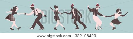 Christmas Set Of Dancing People. Men And Women Performing Jazz Or Rock Roll. Vector Illustration In