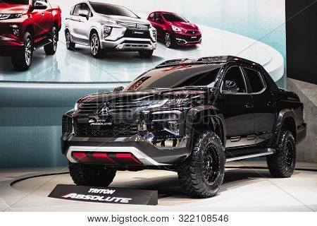 Bangkok, Thailand - September 14, 2019 : Mitsubishi New Triton Absolute Presented In Car Exhibition
