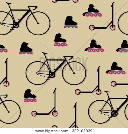 Seamless Pattern With Bicycles, Scooters And Inline Roller Skates. Flat Vector Illustration.