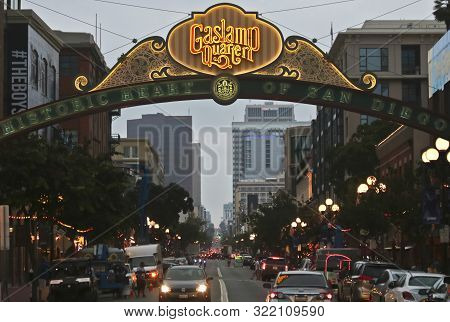 San Diego, California, July 13. The Gaslamp Quarter On July 13, 2019, In San Diego, California. An E