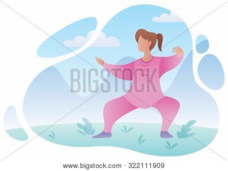 Flat Design Illustration Of A Woman Practicing Qigong Or Tai Chi.