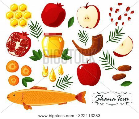 Shana Tova. Set Of Jewish New Year Icons: Honey, Apple, Pomegranate, Shofar, Fish, Carrot, Palm. Hap