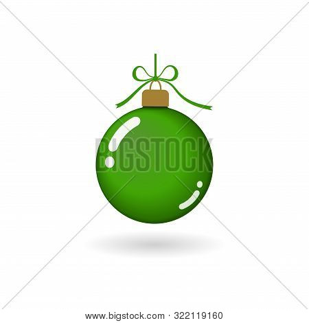 Christmas Tree Ball With Ribbon Bow. Green Bauble Decoration, Isolated On White Background. Symbol O