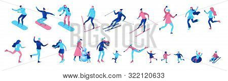 Isometric Winter People Set Isolated, 3d Vector Sport Family Ice Skating, Skiing, Snowboarding, Play