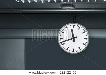 Large Clock In Railway Station At The Hanging With Roof Of Building Central Station For Watch Time W