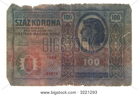 High-Resolution Picture Of Very Old Hungarian Banknote (1912)