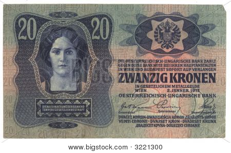 High-Resolution Picture Of Very Old Hungarian Banknote (1913)