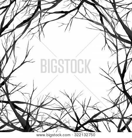 Black Scary Forest, Large Branches Frame, Watercolor Illustration, Background Hand Drawing
