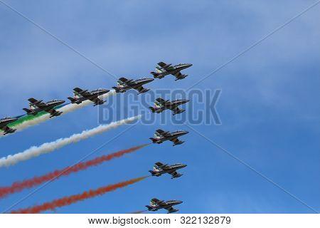 Ferrara, Italy - September 07 2019: Frecce Tricolori (tricolour Arrows)italian Acrobatic Aircraft Te