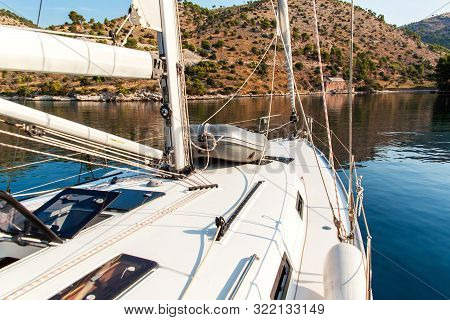 Boat In A Quiet Bay Of Smrka On Brac Island, Croatia. Morning In Croatian Bay. Holiday On A Yacht. Y