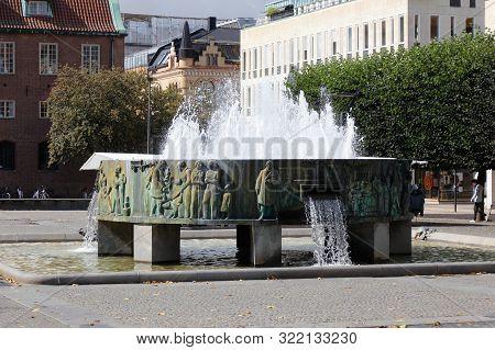 Boras, Sweden - September 2, 2019: The Sjuharadbrunnen  Fountain (erected 1941), By Nils Sjogren, Lo
