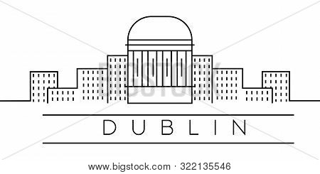 City Of Europe, Dublin Line Icon On White Background