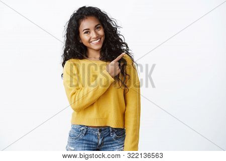 Friendly Cheerful Female Student Study Abroad Showing Friend Around, Pointing Upper Right Corner, Ti