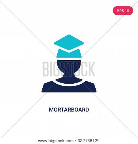 mortarboard icon in two color design style.