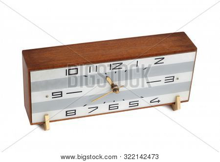 Old square clock on a white background