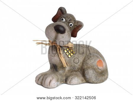 Plush dog toy on a white background