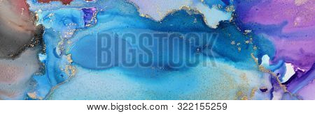 Acrylic ink colors blots. Abstract background. Marble texture. Horizontal long banner.