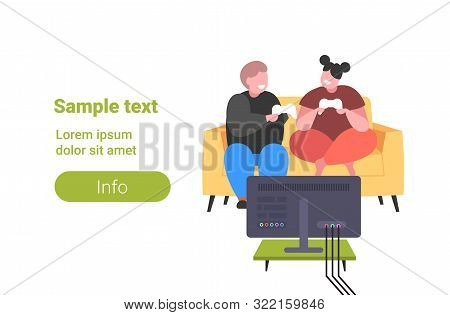 Fat Obese Man Woman Sitting On Couch Using Joystick Game Pad Overweight Couple Plying Video Games On