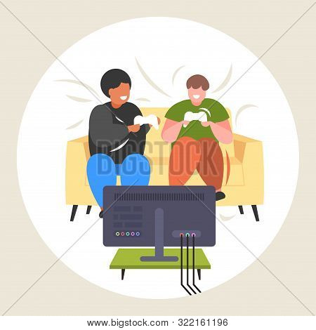 Fat Obese Men Sitting On Couch Using Joystick Game Pad Overweight Mix Race Friends Couple Plying Vid