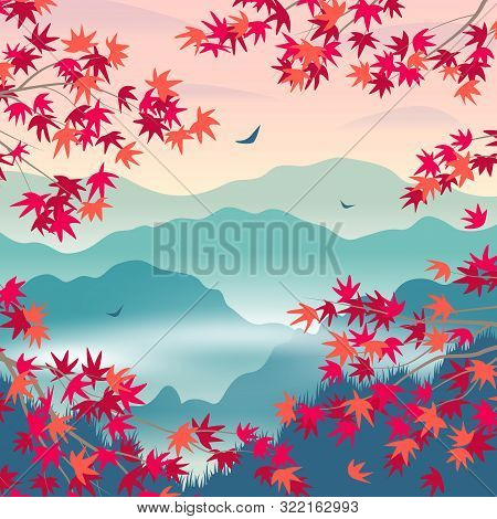 Simple Autumn  Landscape With Foggy Mountains, And Red Japanese Maple Branches. Nature Background Wi