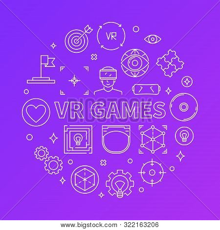 Vr Games Vector Round Concept Illustration In Thin Line Style