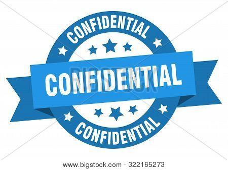 Confidential Ribbon. Confidential Round Blue Sign. Confidential