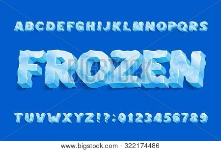 Frozen Alphabet Font. 3d Ice Letters And Numbers With Shadow. Stock Vector Typeface For Your Typogra