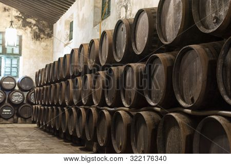 Production Of Fortified Jerez, Xeres, Sherry Wines In Old Oak Barrels In Sherry Triangle, Jerez La F