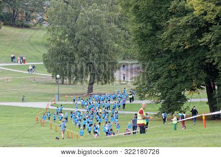 Stockholm - Sept 08, 2019: Kids Running In The Nature During The Generation Pep Day In Hagaparken, T