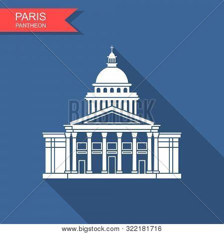 Pantheon In Paris, France. Landmark Icon In Flat Style