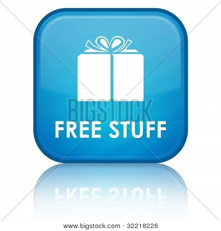 free stuff (gift box) icon on glossy cyan blue square button poster