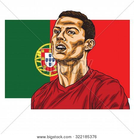 Cristiano Ronaldo Cartoon Vector Portrait Caricature Drawing Illustration With Flag Of Portugal Back