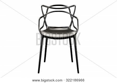 Black Plastic Mid-century Chair With Curved Backrest. 3D Render