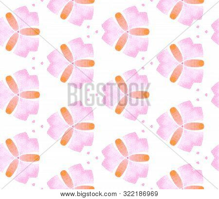 Pink Orange Vintage Retro Seamless Pattern. Hand Drawn Watercolor Ornament. Stylish Repeating Tile.