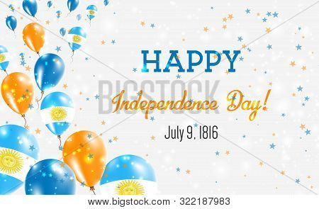 Argentina Independence Day Greeting Card. Flying Balloons In Argentina National Colors. Happy Indepe