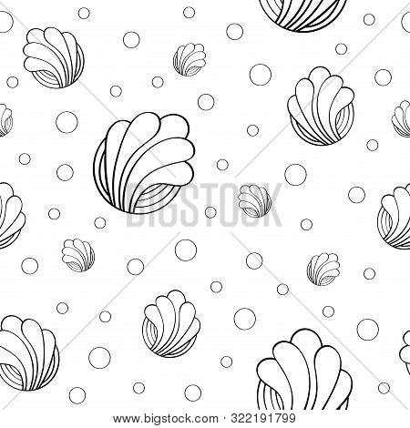 Seamless Pattern On A White Background With Interesting Patterns. Cheerful Abstract Seamless Pattern