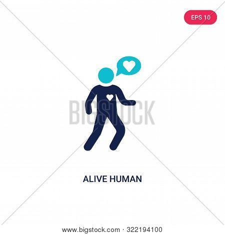 alive human icon in two color design style. poster