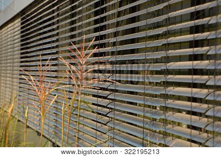 Semi-closed Outside Blinds Close-up, Metal External Blinds As Sun And Sight Protection