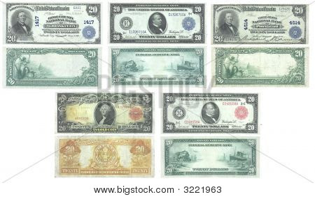 Set Of Old And Rare United States 20 Dollar Banknotes