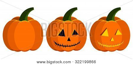 Vector Flat Design Pumpkin Halloween Carving Stages Icon Set - Vegetable, Carved, Jack Lantern With