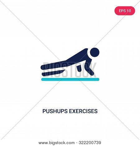 pushups exercises icon in two color design style.
